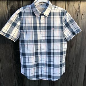 Penguin button up plaid medium men's